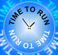time to run meaning must leave and quickly - stock illustration