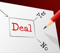 Stock Illustration of deal choice meaning best deals and decision