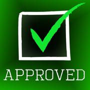 Approved tick showing checkmark check and yes Stock Illustration