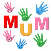 Stock Illustration of handprints mum indicating mummy mom and human