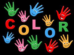 Stock Illustration of handprints colorful showing childhood painted and creativity