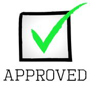 Stock Illustration of approved tick indicating yes assured and confirmed