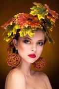 woman portrait in autumn fashion concept - stock photo