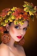 woman with fashion art concept of autumn - stock photo