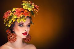 autumn fashion portrait vintage toning - stock photo