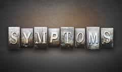 symptoms letterpress - stock illustration