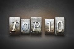 top 10 letterpress - stock illustration
