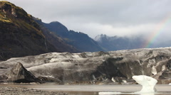 Glacier tongue from the Vatnajökull with rainbow Stock Footage