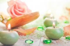 scented candles salt bath attributes relaxation - stock photo