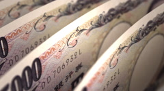 Japanese Yen Close-up Stock Footage