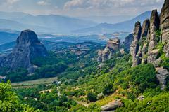 Stock Photo of Meteora panorama with The Holy Monastery of St. Nicholas Anapausas.