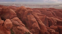 MS pan red rock formations Arches National Park Stock Footage
