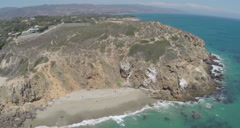 Aerial Shot of Point Dume and Pirate's Cove in Malibu Stock Footage