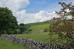 dry stone wall in derbyshire england - stock photo