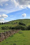 Dry stone wall in derbyshire england. Stock Photos