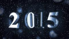 Animation of the Year 2015 with snow and bokeh Stock Footage