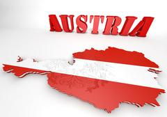 map illustration of austria with flag - stock illustration