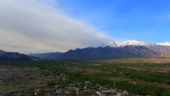 A panorama of the valley from the roof of the monastery Thiksey Stock Footage