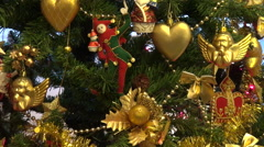 Beautiful Christmas tree, golden decorations, adornment, lights - stock footage