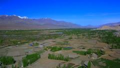 Panorama of the valley near the monastery Thiksey Stock Footage