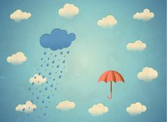 Aged card with rainy cloud and umbrella - stock illustration