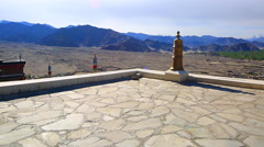 Panorama roof Thiksey Monastery Stock Footage