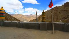 Panorama from the roof of the monastery Khemiz Stock Footage