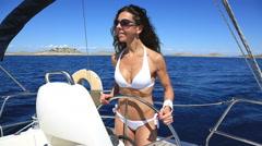 Woman in White Bikini Sailing around Kornati Islands Stock Footage
