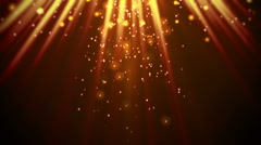 Stock Video Footage of magic orange light rays and particles loop
