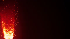 Blazing fire flame and sparks loopable background Stock Footage