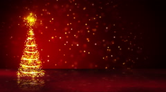 Orange christmas tree of glowing particles loop Stock Footage