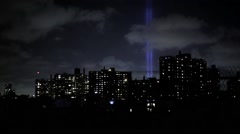New York City 9/11 Tribute lights from Brooklyn rooftop Stock Footage