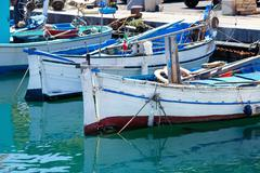 Old fishing boat in Sardinia Stock Photos