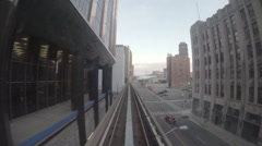 Downtown Detroit city Sky train subway fly through 03 Stock Footage