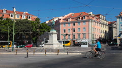 Duque da terceira square, in cais do sodre, lisbon Stock Footage