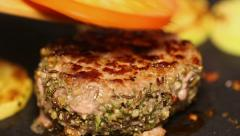 Roast cutlet in a pan Stock Footage