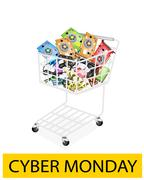 Computer Hardware in Cyber Monday Shopping Cart Stock Illustration