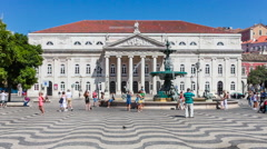 Dona maria ii national theatre, in rossio square, Lisbon Stock Footage