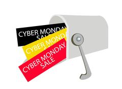 Cyber Monday Letters in A Gray Mailbox Stock Illustration