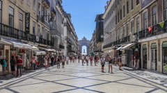 augusta street with the triumphal arch in lisbon - stock footage