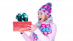 happy surprised adult woman with christmas gift in hands - stock footage