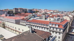 Panorama of the baixa district of lisbon Stock Footage