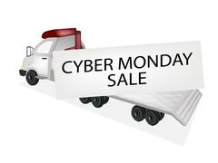 Tractor Trailer Flatbed Loading Cyber Monday Card Piirros
