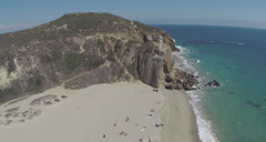 Aerial Shot of Point Dume and Westward Beach in Malibu Stock Footage