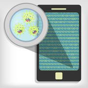 germs on cellphone - stock illustration