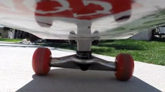 Camera mounted on the underside of a skateboard Stock Footage