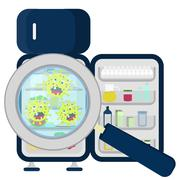 germs on refrigerator full - stock illustration