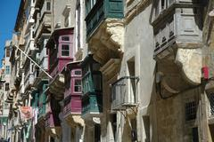 Balconies - Malta - stock photo