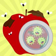 rotten apple with germs and flies - stock illustration