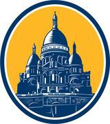 dome of sacre coeur basilica paris retro - stock illustration